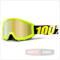Мото очки 100% STRATA Goggle Neon Yellow - Mirror Gold Lens