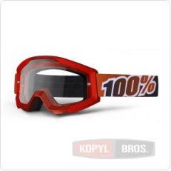 Мото очки 100% STRATA Moto Goggle Fire Red - прозрачная линза