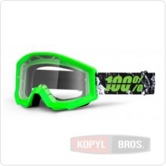 Мото очки 100% STRATA Moto Goggle Crafty Lime - прозрачная линза