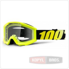 Детские мото очки 100% STRATA JR Goggle Neon Yellow - Clear Lens, фото №1, цена
